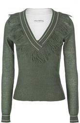 Приталенный пуловер с V-образным вырезом и бахромой Paco Rabanne