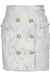 Джинсовая мини-юбка с декоративной отделкой и карманами Balmain