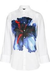 Блуза с укороченным рукавом и контрастным принтом Dsquared2