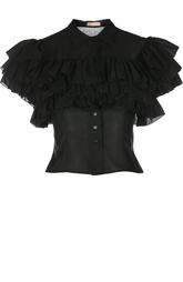 Укороченная приталенная блуза с оборками Alaia