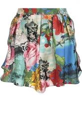 Шелковые мини-шорты свободного кроя с ярким принтом Kenzo
