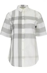 Блуза прямого кроя в клетку с укороченным рукавом Burberry Brit