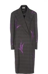Двубортное пальто с широкими лацканами и пайетками Dries Van Noten