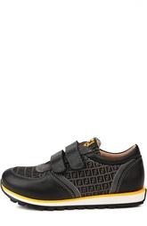 Кожаные кроссовки со вставками и застежкой велькро Fendi Roma