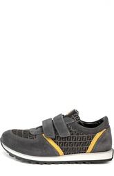 Замшевые кроссовки со вставками и застежкой велькро Fendi Roma