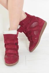 Кожаные кроссовки на танкетке Isabel Marant