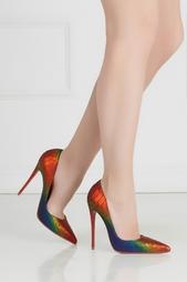 Разноцветные Туфли из кожи питона So Kate 120 Christian Louboutin