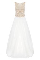 Платье с кружевом и стеклярусом Tarik Ediz