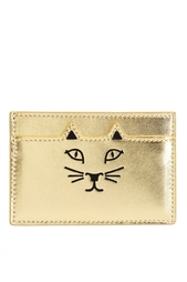 Визитница из металлизированной кожи Feline Card Holder Charlotte Olympia