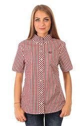Рубашка в клетку женская Fred Perry Button Down Gingham Shirt Burgundy/White