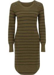 Вязаное платье (цвет белой шерсти/черный в пол) Bonprix