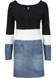 Вязаное платье в миксе материалов (синий «потертый»/серый меланж/) Bonprix