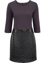 Платье в смеси материалов (черный) Bonprix