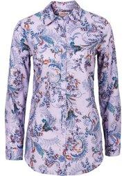 Блузка с принтом и длинным рукавом (минерально-синий с рисунком) Bonprix