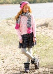 Вязаный пуловер из пряжи букле, Размеры  116/122-164/170 (розовый/ярко-розовый) Bonprix