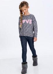 Вязаный пуловер меланжевого дизайна, Размеры  116/122-164/170 (антрацитовый/меланж цвета бело) Bonprix
