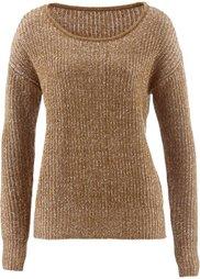 Двухцветный пуловер (цвет корицы/темно-лиловый) Bonprix