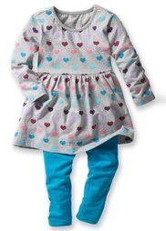Платье + легинсы (2 изд.), Размеры 80-134 (ярко-розовый + ночная синь в п) Bonprix
