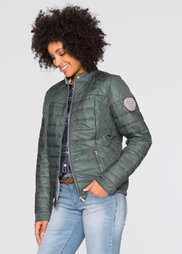 Стеганая куртка с аппликацией (серо-зеленый) Bonprix