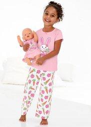 Пижама + ночная рубашка для куклы (3 изд.), Размеры  92/98-152/158 (розовая пудра/белый с принтом) Bonprix