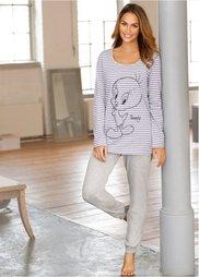 Пижама Твити (светло-серый меланж в поперечн) Bonprix