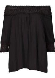 Блузка в стиле Кармен с кружевной вставкой (цвет белой шерсти) Bonprix