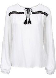 Блузка с принтом (черный/цвет белой шерсти) Bonprix