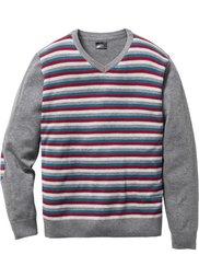 Пуловер Regular Fit с V-образным вырезом (темно-синий в полоску) Bonprix