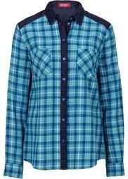 Клетчатая рубашка с джинсовыми деталями (красный в клетку) Bonprix