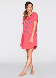 Ночная рубашка (ярко-розовый неон/серый с прин) Bonprix