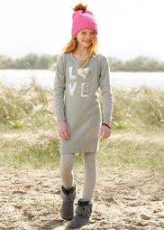 Вязаное платье с аппликацией пайетками, Размеры  116/122-164/170 (светло-серый меланж) Bonprix