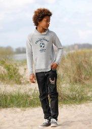 Вязаный пуловер с модным воротником и принтом, Размеры  116/122-164/170 (цвет белой шерсти/серый меланж) Bonprix