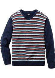 Пуловер Regular Fit с V-образным вырезом (антрацитовый меланж в полоску) Bonprix