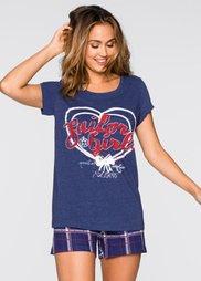 Пижама (меланжевая ночная синь/в клетк) Bonprix