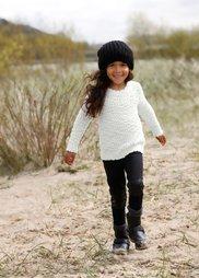 Пуловер с узором попкорн, Размеры  80/86-128/134 (нежно-розовый/цвет белой шерст) Bonprix