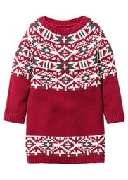 Вязаное платье, Размеры  80-134 (антрацитовый меланж с узором) Bonprix