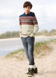 Вязаный пуловер с капюшоном, Размеры  116/122-164/170 (натуральный меланж) Bonprix