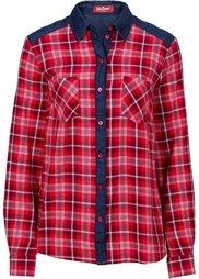 Клетчатая рубашка с джинсовыми деталями (синий в клетку) Bonprix