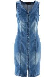 Джинсовое платье на молнии (голубой выбеленный) Bonprix