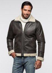 Куртка под кожу (темно-коричневый) Bonprix