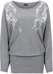 Пуловер с пайетками (клубничный) Bonprix
