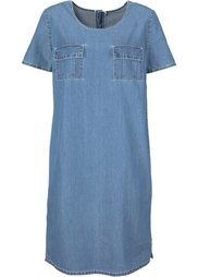 Джинсовое платье с коротким рукавом (темный деним) Bonprix