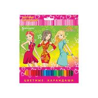"Цветные карандаши ""Pretty Girls"", 24 цв., Brauberg"