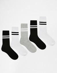 Набор из 5 пар спортивных носков ASOS - Monochrome