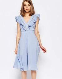 Платье с оборками Lost Ink - Синий