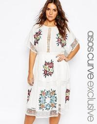 Платье миди с цветочной вышивкой и кружевом ASOS CURVE - Мульти
