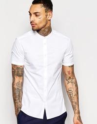 Белая зауженная рубашка с короткими рукавами и с воротником на пуговиц Asos