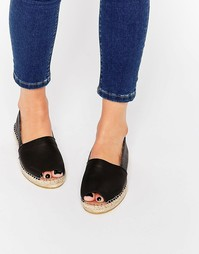 Черные кожаные эспадрильи на плоской подошве с открытым носком Selecte Selected
