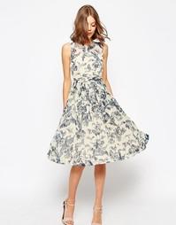 Платье миди с оборками и принтом ASOS WEDDING - Мульти