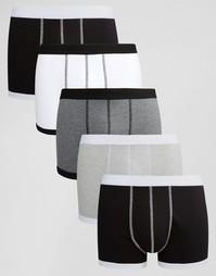 Комплект из 5 пар монохромных боксеров-брифов с контрастным кантиком A Asos